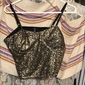 Tops - Black shirt with gold sparkles